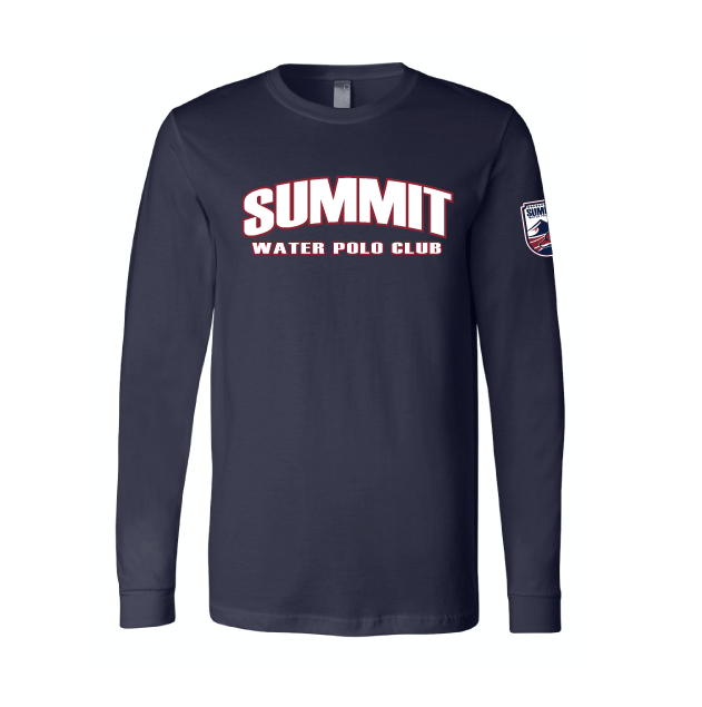 Summit Water Polo Club Custom Navy Unisex Jersey Long Sleeve Tee