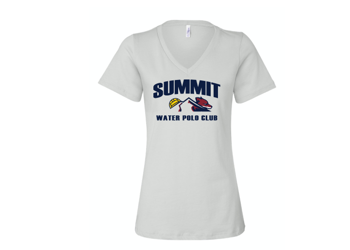 Summit Water Polo Club Custom White Women's Jersey Short Sleeve V-Neck Tee