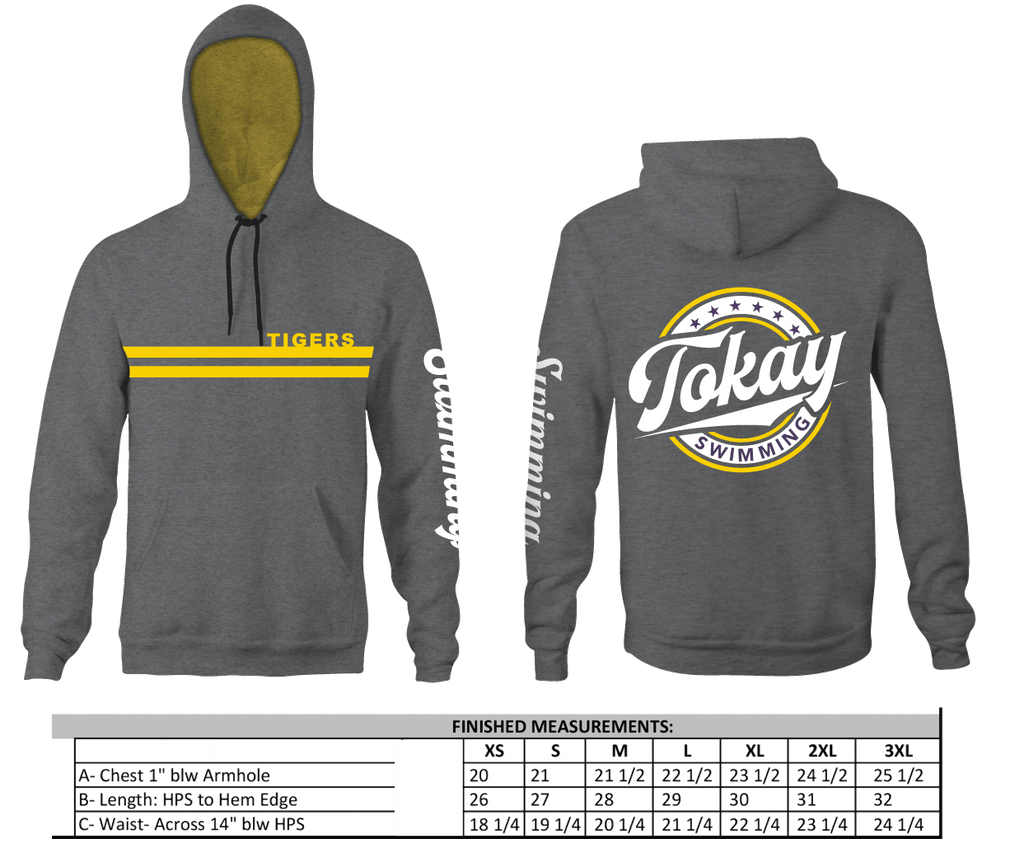 Tokay Swim Team Vintage Fade Adult Unisex Hooded Sweatshirt