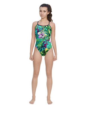 Tropical Turquoise Women's Open Back Thin Strap Swimsuit