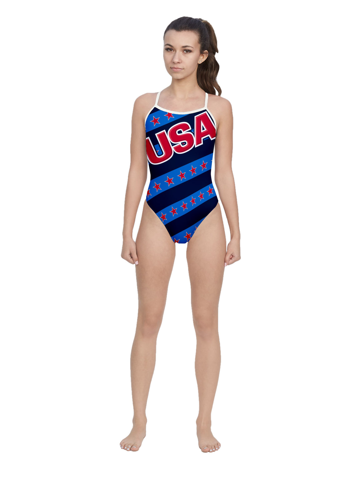 USA Blue Women's Open Back Thin Strap Swimsuit
