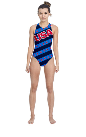USA Blue Women's Water Polo Suit