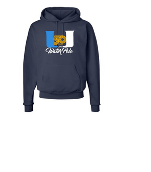 University High School Water Polo 2019 Custom Navy Hooded Pullover Sweatshirt