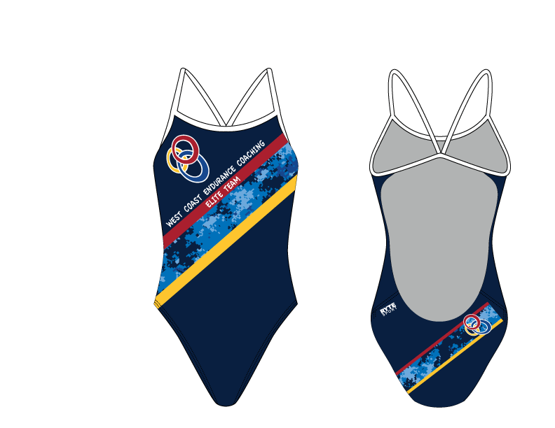 WCEC Elite Endurance Team 2019 Blue Custom Women's Open Back Thin Strap Swimsuit