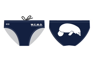 The West Coast Manatee Organization Navy/White Men's Swim Brief