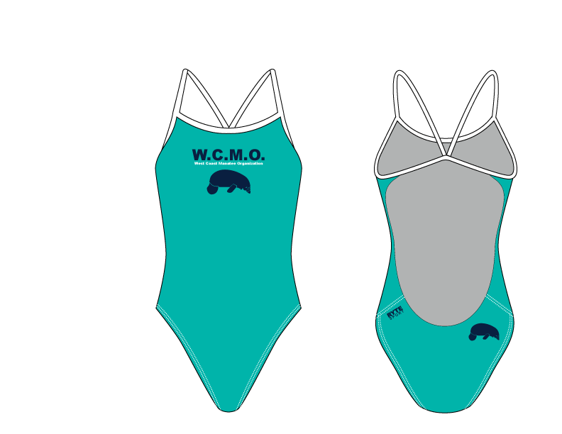 West Coast Manatee Organization Women's Open Back Thin Strap Swimsuit Teal/Black