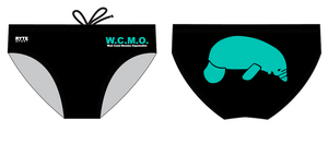 The West Coast Manatee Organization Black/Teal Men's Custom Swim Brief