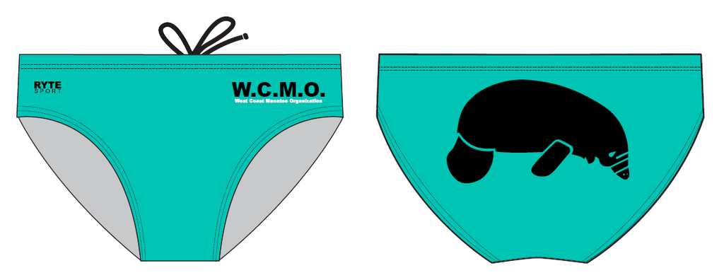 The West Coast Manatee Organization Teal/Black Men's Custom Swim Brief