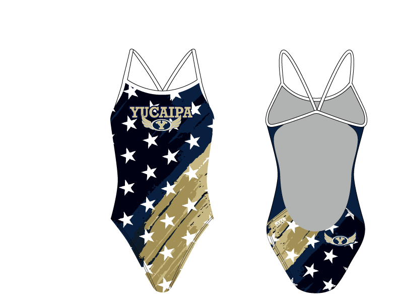 Yucaipa High School Swim 2019 Custom Women's Open Back Thin Strap Swimsuit - Personalized