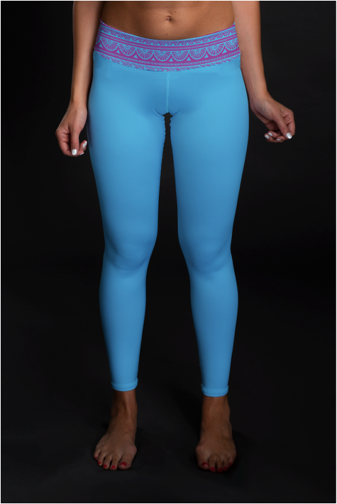 Pink & Blue Tribal (BLUE) Mid-Rise Full Length Leggings