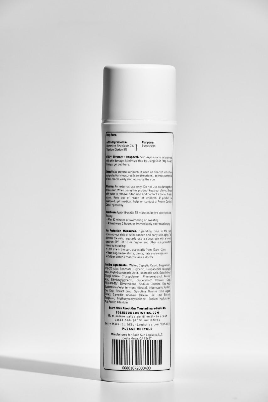 Solid Sun Logistics SPF 50 Sunscreen, 100% Mineral Based. 5 oz. Bottle