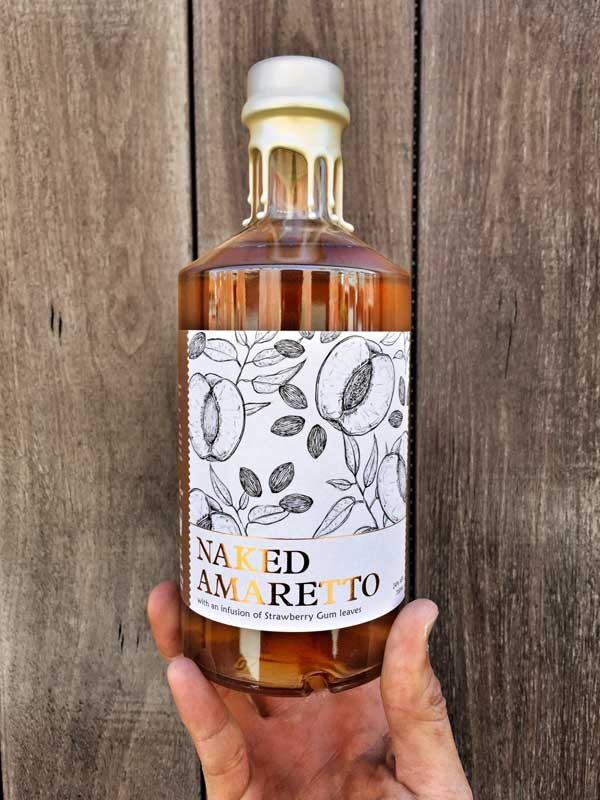 White Possum also makes liqueurs. Pictured: 700ml bottle of Naked Amaretto, the first Australian-made amaretto. Made from apricot kernels and strawberry gum.