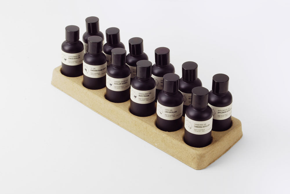 12pc Spirit Tasting Set featuring various Australian whiskies or gins in 30ml format