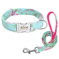 Personalized Dog Collar Leash Nylon Print Small Dog Collars and Lead for Small Medium Large Pet Pitbull German Shepherd Puppy