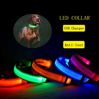 Luminous Dog Collar USB Charging LED Light Flashing Nylon Dog Leash For Puppy Small Medium Large Dog Walking Safe Pet Supplies