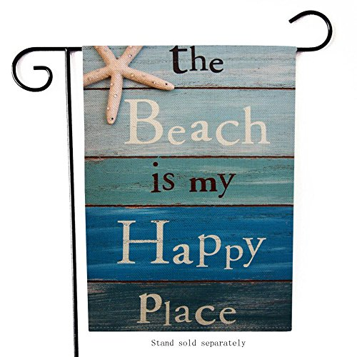 The Beach is My Happy Place Outdoor Garden Flag Double Sided