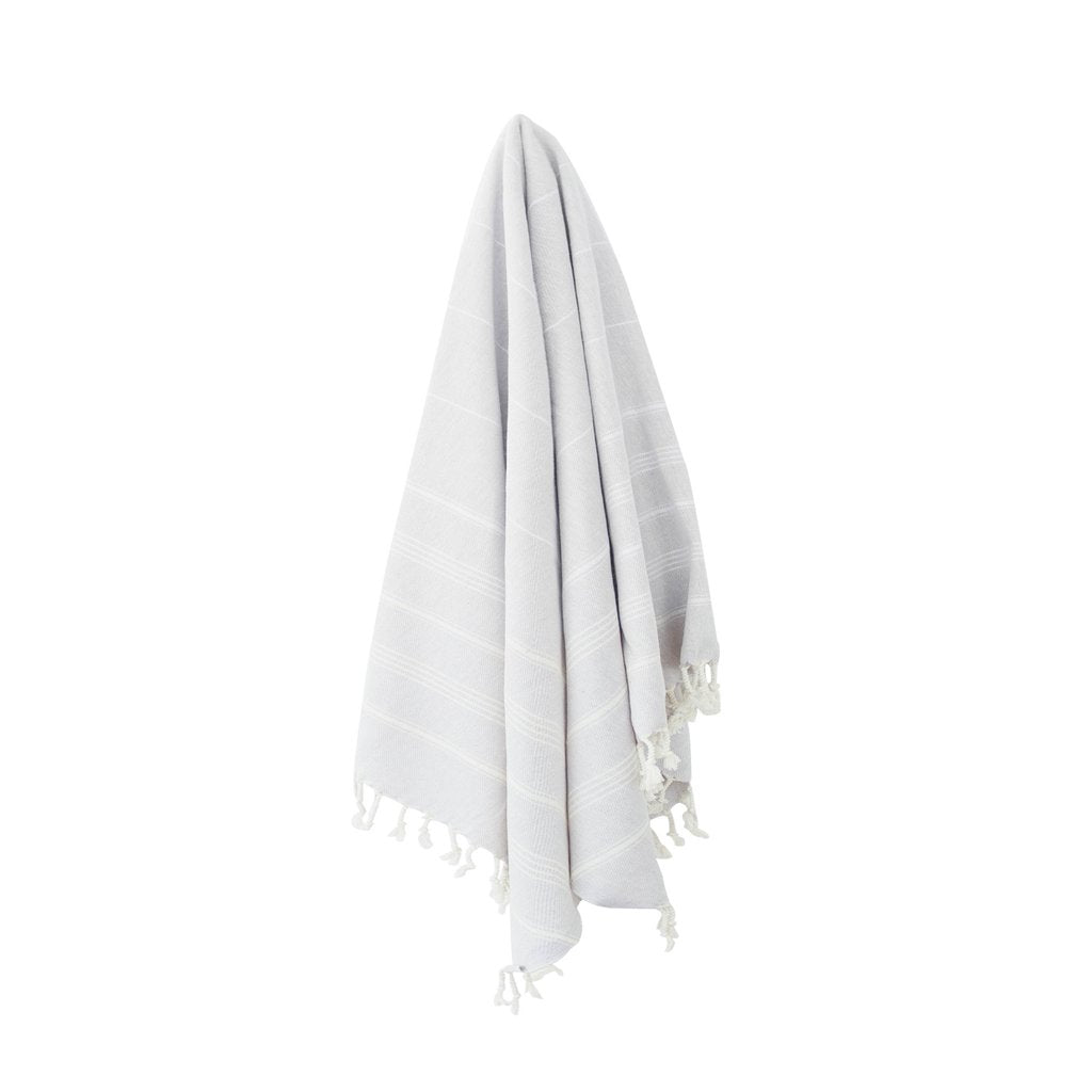 100% Hand Loomed Turkish Cotton (Turkish cotton comes from a medium fibre cotton plant which provides the perfect balance between absorbency and quick drying). Size: 100 x 180 cm.  Large enough to be a towel, throw, or table cloth!  Be sure to check out the matching napkins.