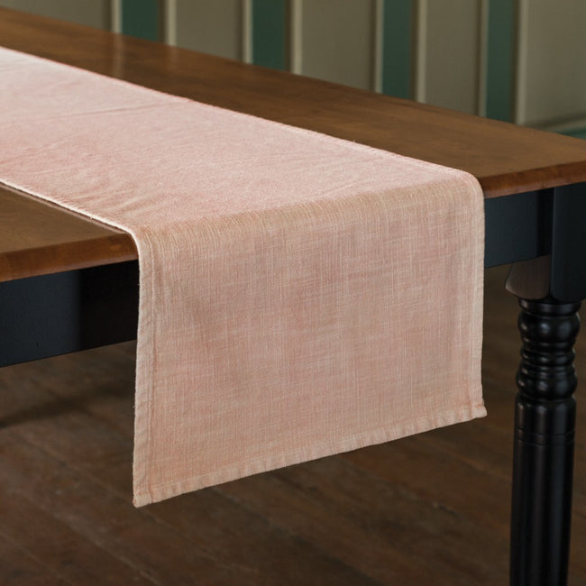 This beautiful blush runner is a perfect Spring Accent.  At 56 x 15 its great for a smaller table.