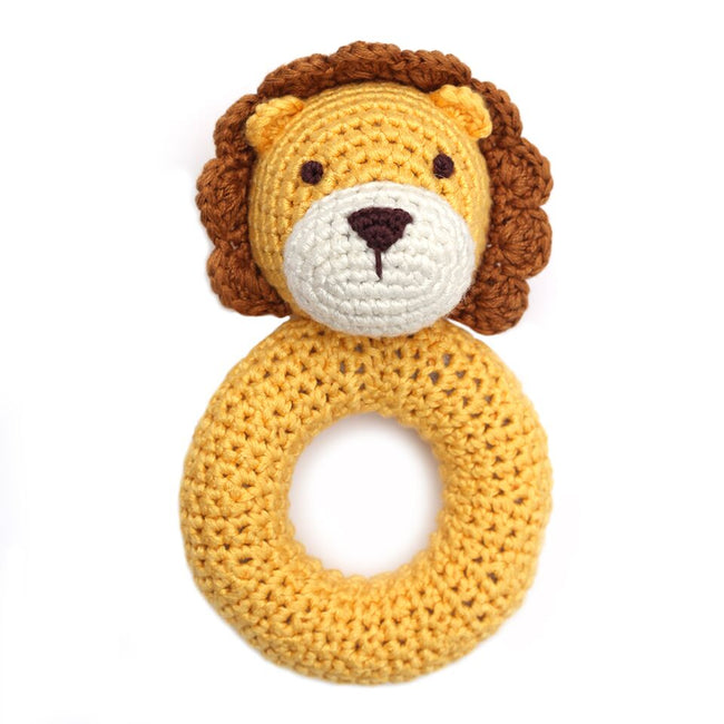 "This easy to grasp ring rattle is lovingly hand-crocheted using luxuriously soft yarn derived from the pulp of the organically grown and sustainably harvested bamboo trees. Toys are tested for highest standards of safety (ASTM and CPSIA). Size: 6"" in height; Materials: 100% Bamboo viscose yarn, Polyfill."