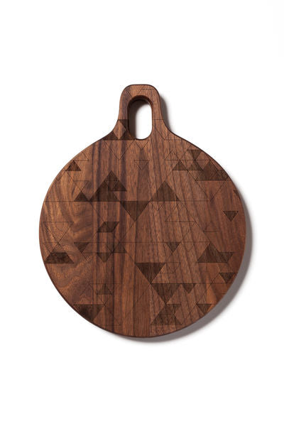 American Heirloom - Round Walnut Hardwood Board with Triangles
