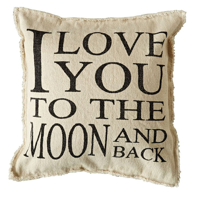 I love you to the moon and back 20 x 20 pillow is perfect for any child's room or guest room!  We are in love with the saying!  This pillow is all cotton and come pre-filled.