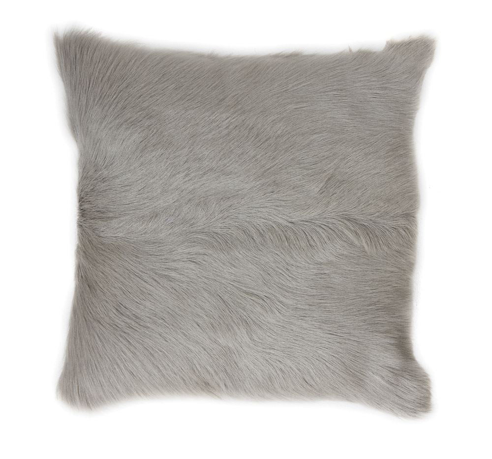 "This incredible fluffy pillow is an amazing accent to any couch or bed.  It is made with 100% real goat fur from Mongolia and is then dyed this incredible grey color.   20"" Square"
