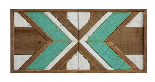 This beautiful wood piece is perfect for hanging or leaning up in a shelf to give some extra color to a mantel or shelf.    30 x 1.5 x 14""