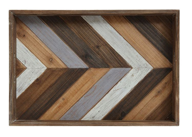 This gorgeous wood tray is perfect for a coffee table. Add accents on top!  You will love the colors to add a little more to any room. 21""