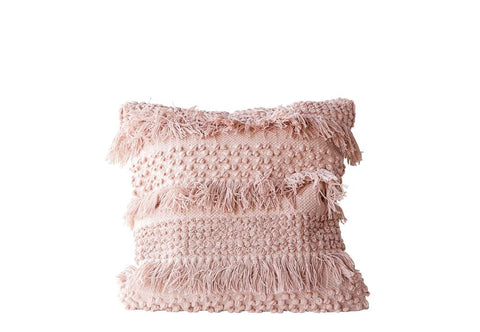 Handmade Macrame Trim Pillow - Blush - 20 x 20 - Premium Down Insert Included