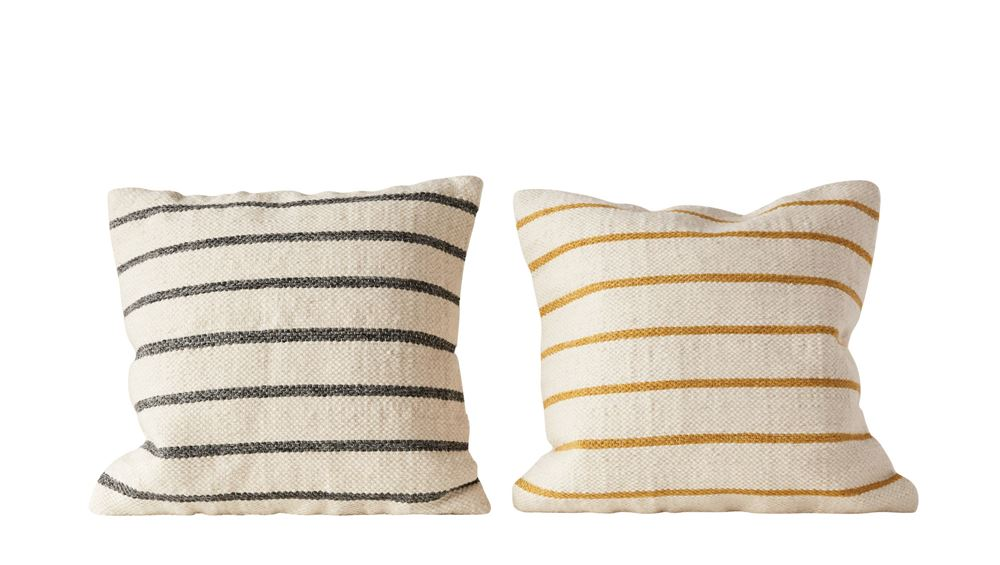 "Wool Woven Blend Pillows in Black and Mustard 20"" Square"