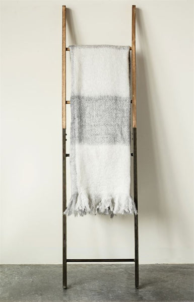 "This fuzzy throw is so cozy and beautiful.  Its mohair is a great accent in texture for any room. 60 x 50"" Fringe Bottom."
