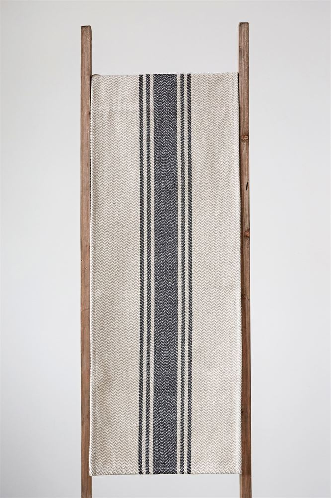 "Table Runner Cotton Canvas Black and Neutral 72"" x 14"""