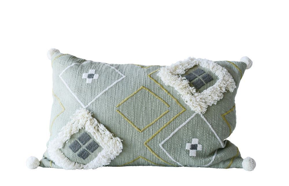 Sage Boho Cotton Lumbar Pillow 16 x 24