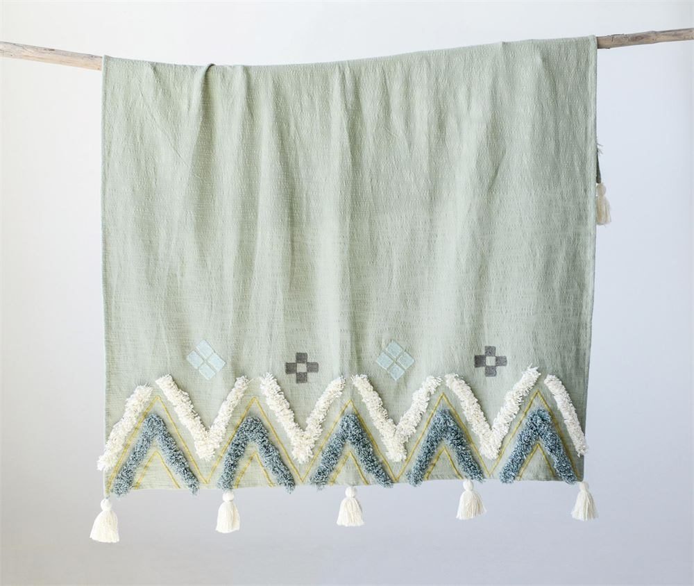 Sage Cotton Boho Throw 60 x 50, with large tassels