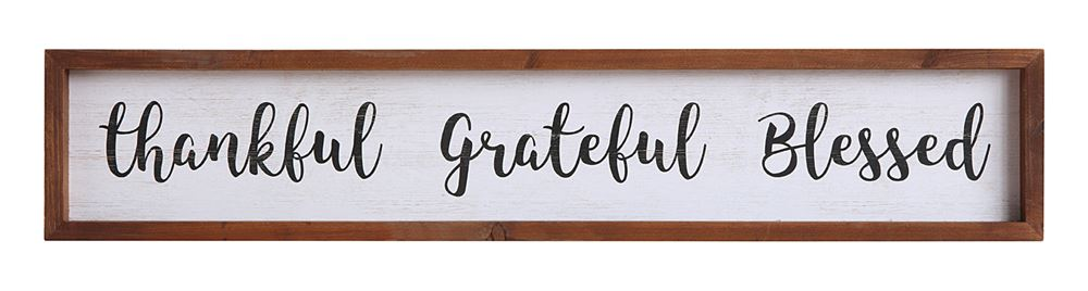 Thankful Grateful Blessed Wooden Art Sign 28""