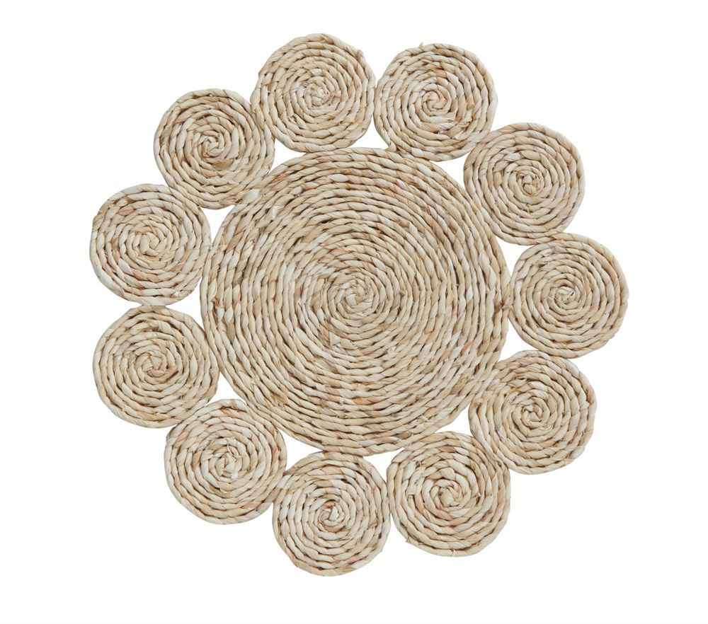 "Woven Straw Placemat 15"" Round.  Beautiful for indoor or outdoor seating. Perfect for summer and spring with its neutral tone."