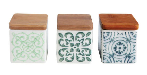 Square Stoneware Canisters, Mixed Designs 2.5""