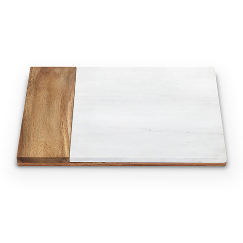 Bound in rich acacia wood, this weighty board is inset with a perfectly cut slab of polished white marble. Upon it, the beautiful hues and patterns of artisan cheese varieties are displayed to exquisite effect.