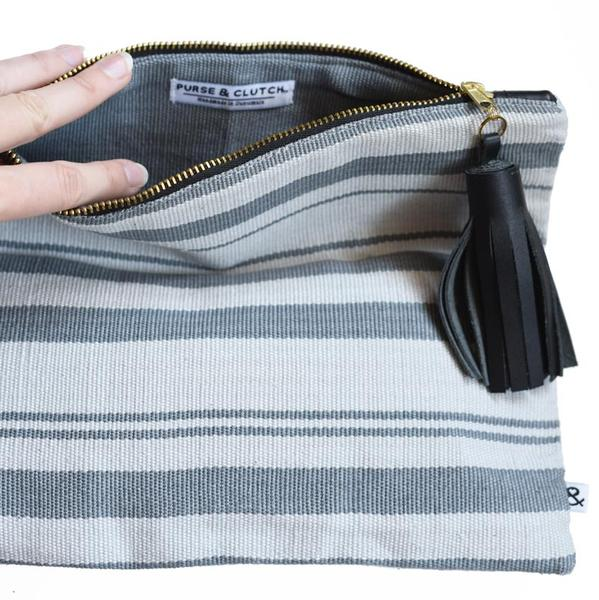 Fold Over Clutch (Gray Stripes)