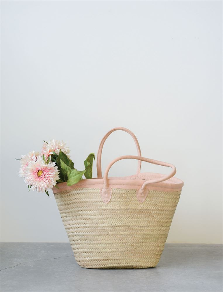 Hand Woven Market Tote Bag - Leather or Blush Leather