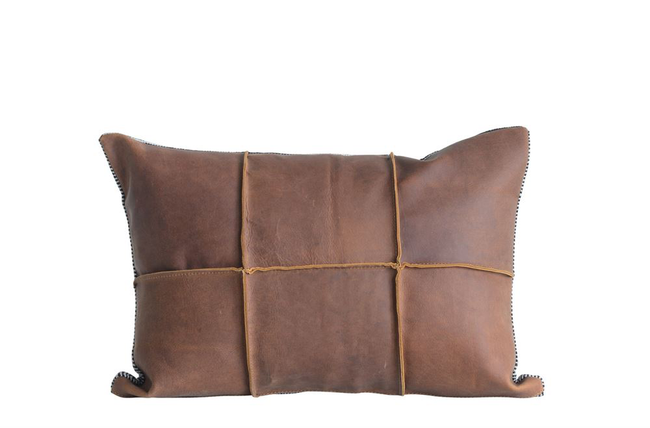 Leather and Felt Pillow 20 x 14  Includes premium cotton filler.