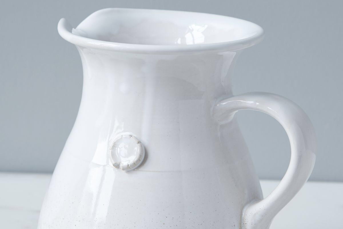 White Handthrown Water Pitcher