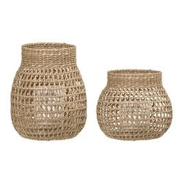 Natural Sea Grass Baskets with Glass Candle Inserts : Set of 2