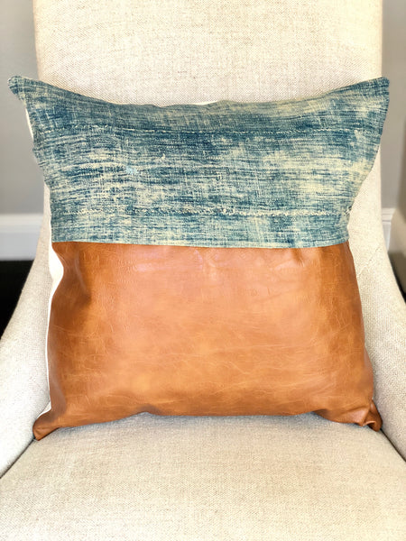 Denim and Faux Leather pillow 18 x 18 - Premium Down Insert Included