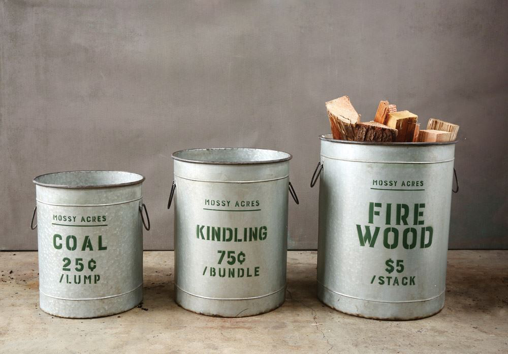 "These bucket are the BEST! Great for porch or fireplace. Absolutely a favorite this holiday season!  Small Coal: 14-1/4"" Rnd x 17""H,  Medium Kindling: 16-1/2"" Rnd x 20-1/4""H, &  Large Firewood: 18-1/4"" Rnd x 22-3/4""H"