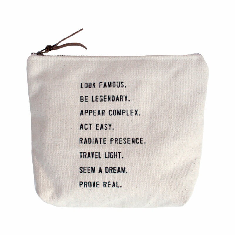 Canvas Message Makeup Bags - 8.5 x 7.5