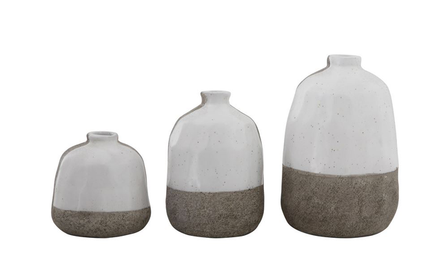 "Terra-cotta Vases, Grey & White,  Tall: 6""H  Medium: 5""H  Short: 3-1/2""H"