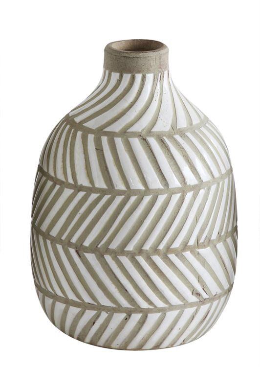 Terra-cotta White Lines Vases both 5x7