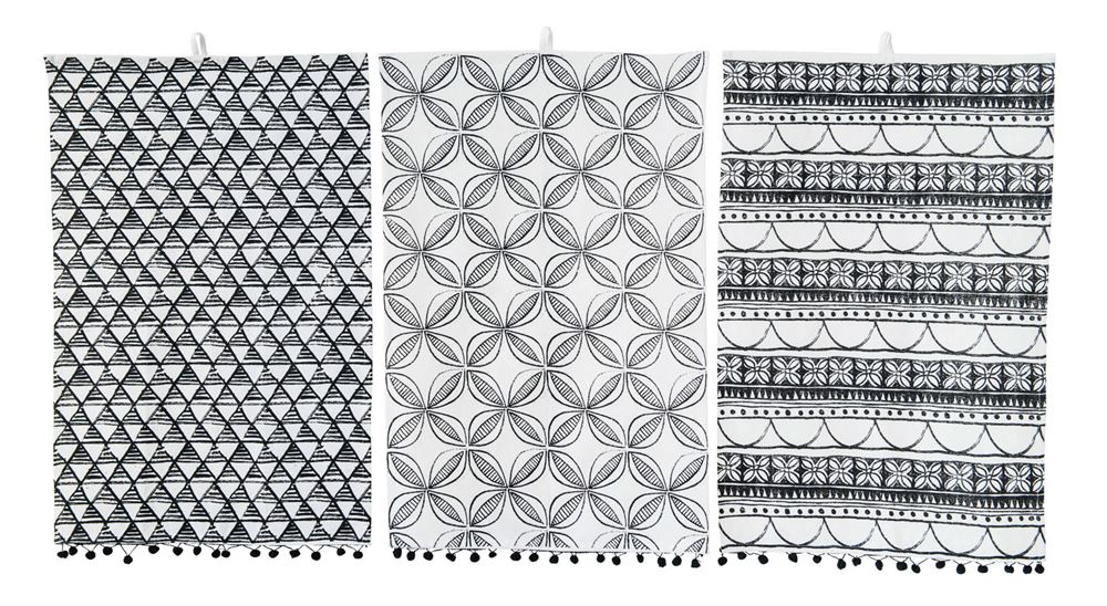 Mud cloth Tea Towels with Black Pom Poms 28 x 18  Please use drop down to select your pattern:  Black and White Triangles Black and White Flowers  Black and White Crosses