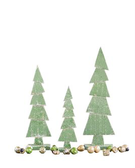 "Green Wood Decorative Trees on Stand  5""L x 2-1/2""W x 15-1/2""H Wood Tree on Stand, Green"